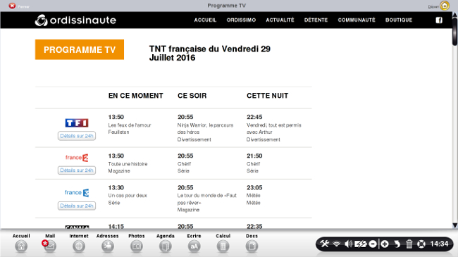 page accueil programme tv