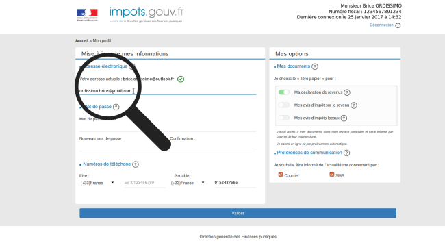 changer adresse mail impot
