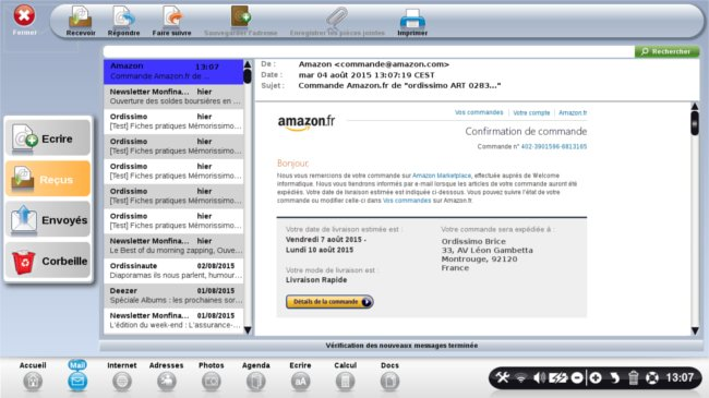 mail confirmation de commande amazon