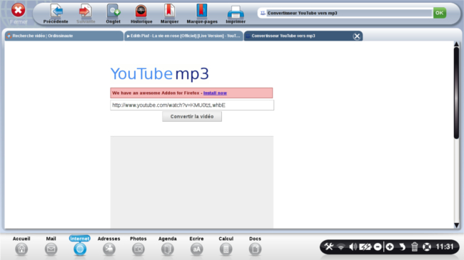 page d'accueil youtube mp3
