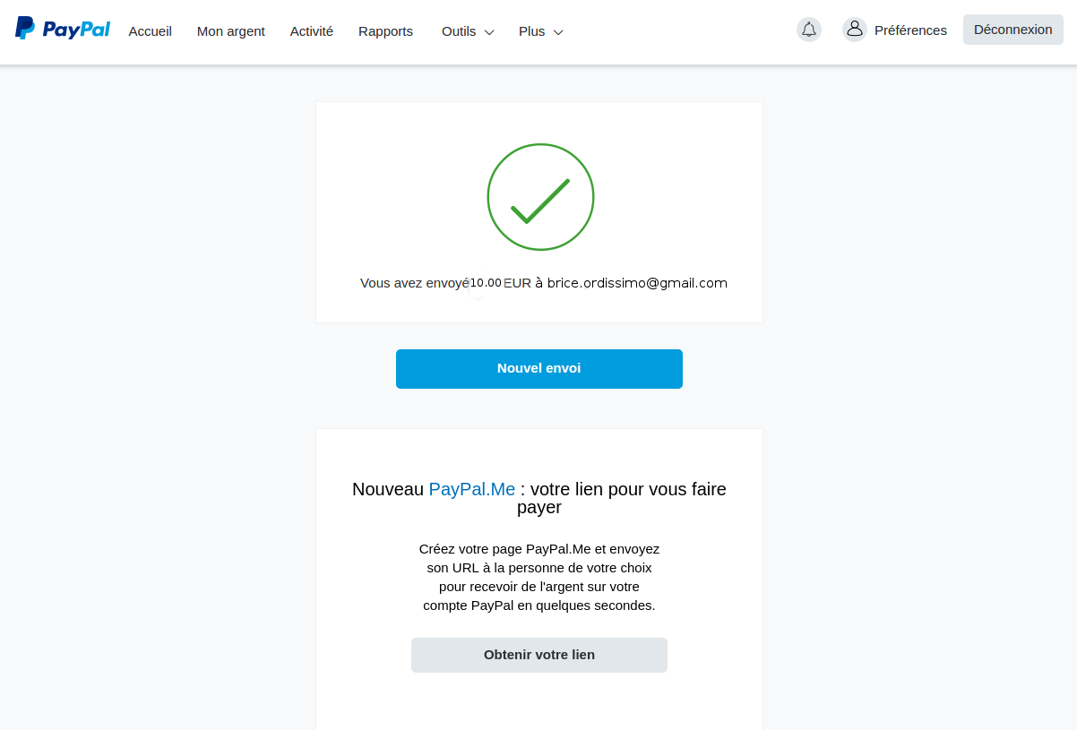 validation de la transaction paypal