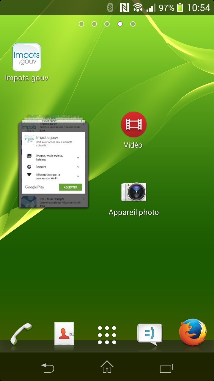 ouverture application Android
