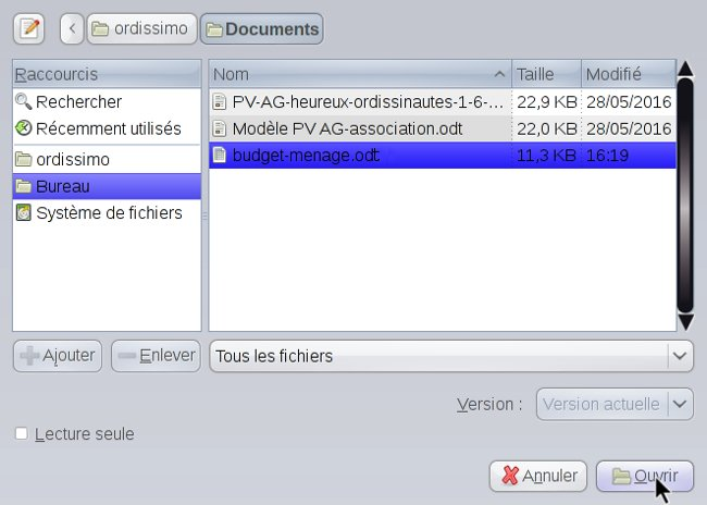Ouvrir une feuille sous LibreOffice Writer