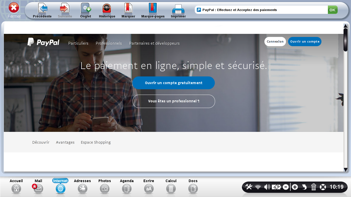 page accueil paypal