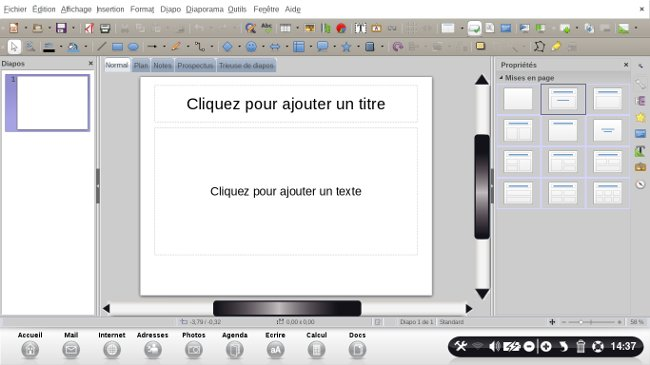 page accueil libre office impress