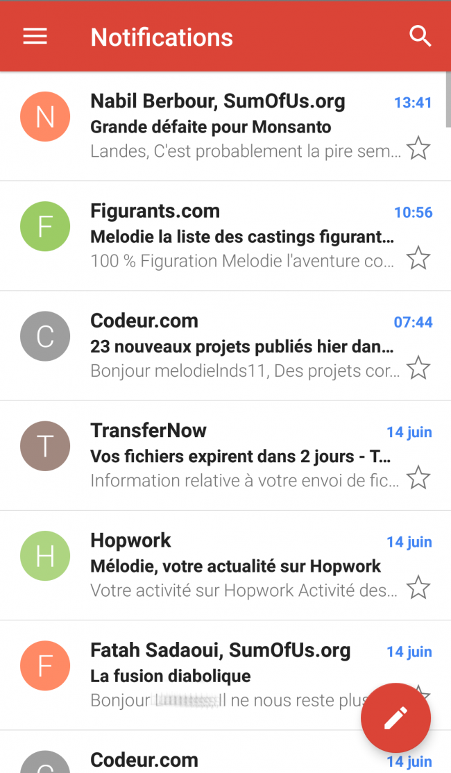 messagerie notifications