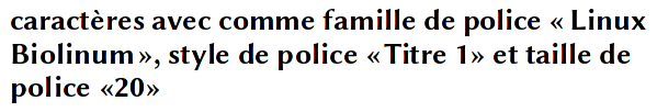 exemple police famille style taille