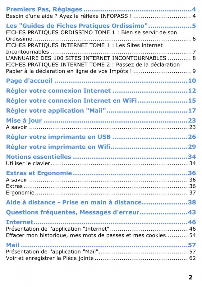 Mode d'emploi Ordissimo sommaire page 1