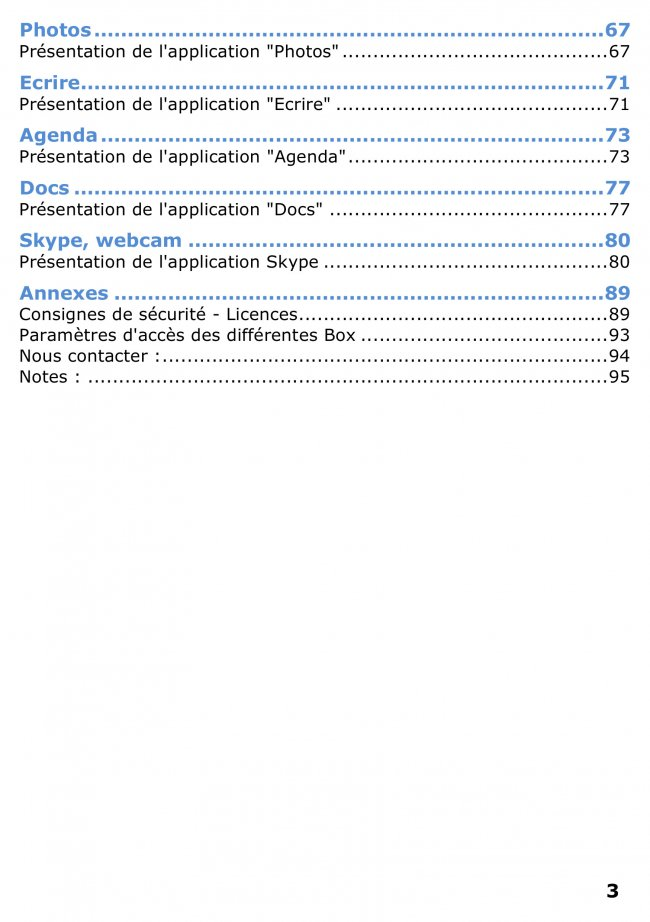 Mode d'emploi Ordissimo sommaire page 2
