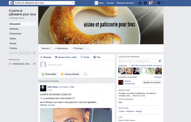 page groupe