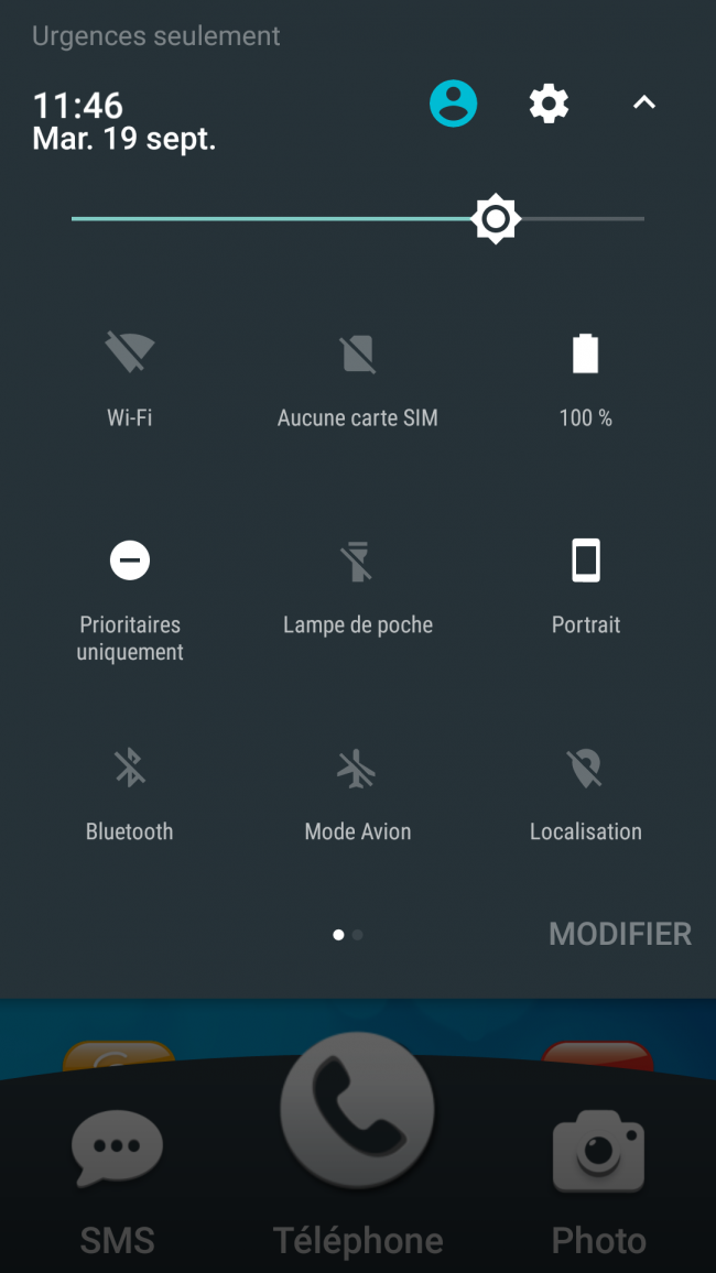 bandeau des notifications